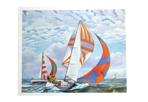 Reproduksjon med motiv av fargerike seilbåter i regatta. Bilde.