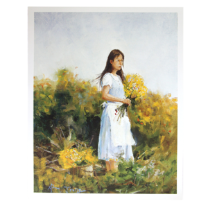 Reproduksjon med motiv av jente i blomstereng. Bilde.
