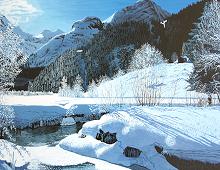 Reproduksjon med motiv av frossen innsjø og fjell. Bilde.