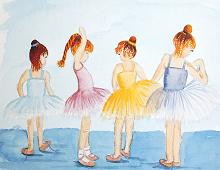 Reproduksjon med motiv av fire små jenter som danser. Bilde.