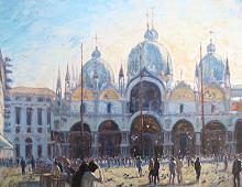 Reproduksjon med motiv av Markusplassen i Venezia. Bilde.