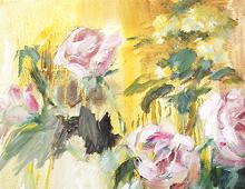 Reproduksjon med motiv av rosa roser i vase. Bilde.
