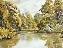 Reproduksjon med motiv av stille innsjø og trær. Bilde.