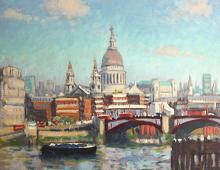 Reproduksjon med motiv av St. Paul's Cathedral i London. Bilde.