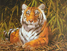 Reproduksjon med motiv av liggende tiger i jungel. bilde.