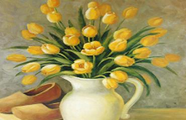 Reproduksjon med motiv av gule tulipaner i vase. Bilde.
