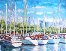 Reproduksjon med hvite båter i havnen. Bilde.