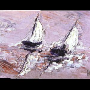 Kort med kunstnerisk motiv av seilbåter. Bilde.