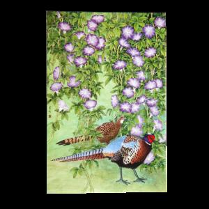 Kort med motiv av fasanpar og blomster. Bilde.