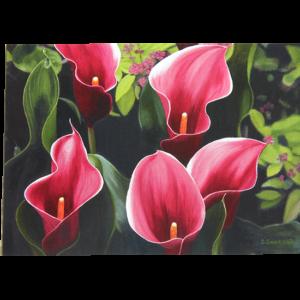 Kort med motiv av rosa liljer. Bilde.