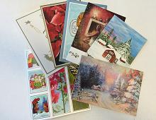 Bilde av komplett julekortsett 2015 6 doble kort 3 til og fra lapper og 2 bokmerker. Bilde.