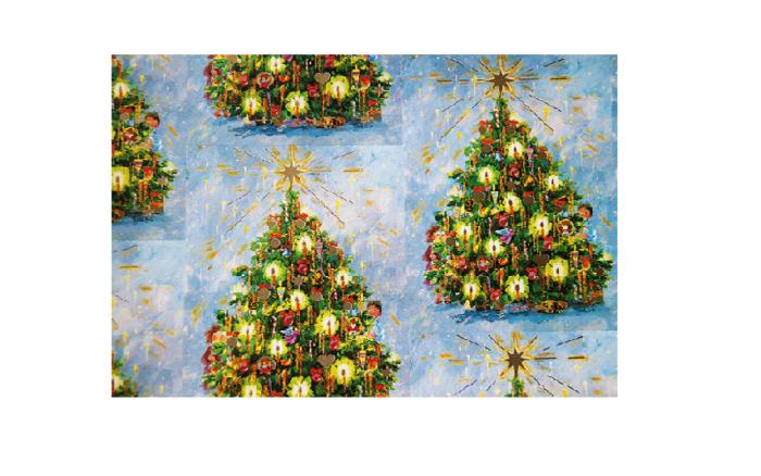 Julepapir med bilde av juletrær. Bilde.