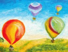 Bursdagskort med luftballonger. Bilde.