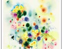 Vannmalte blomster i forskjellige farger.