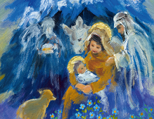Jesusbarnet og Jomfru Maria og Jesus:. Bilde.