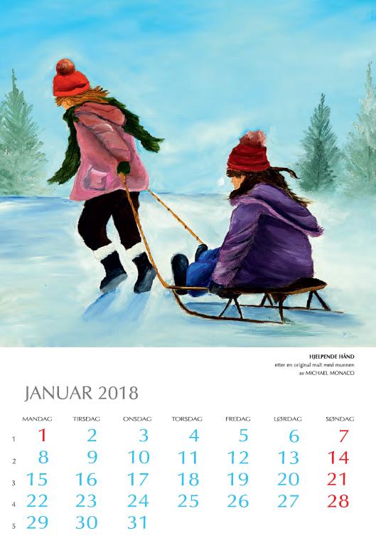 Januarmåned med bilde av to som leker med en kjelke. Bilde.