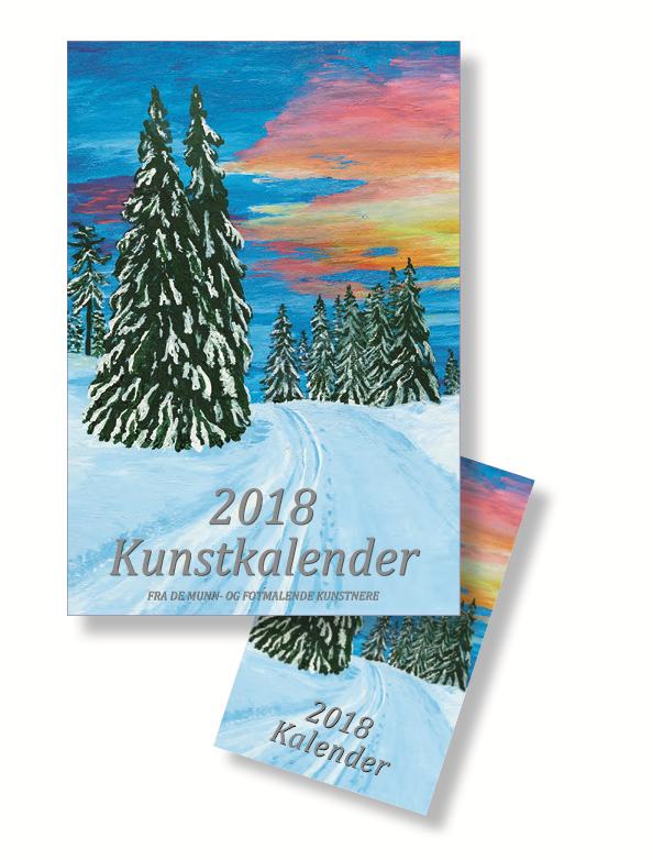 Forside kalender 2018 med bilde av skispor og farget himmel. Bilde.