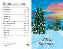 Motiv på forsiden og baksiden som viser helligdagene i 2018. Bilde.