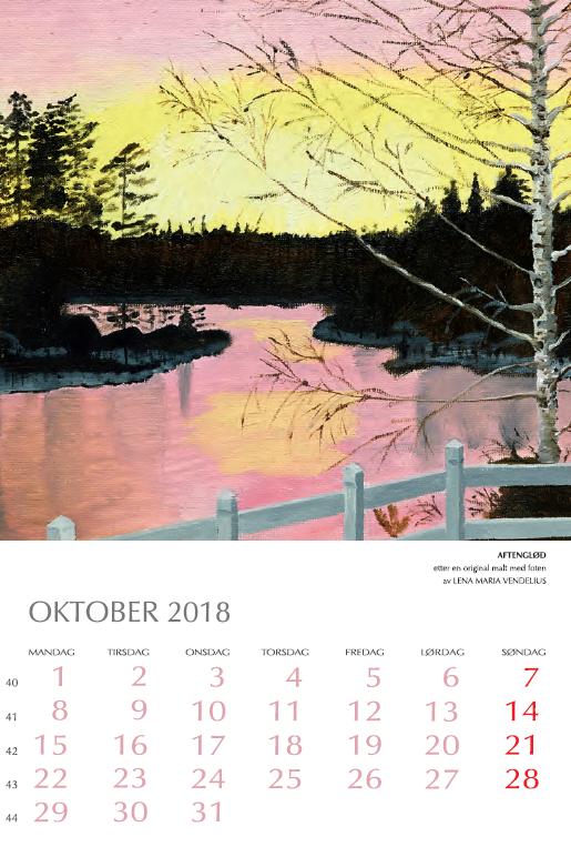 Oktober måned med bilde av et vann og solnedgang. Bilde.