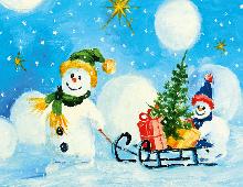To snømenn som drar en kjelke med juletre og julegaver. Bilde.
