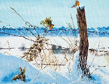 Dobbeltkort med motiv av to fugler i vinterlandskap. Bilde.