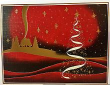 Hytte i skogen med juletre. Bilde.