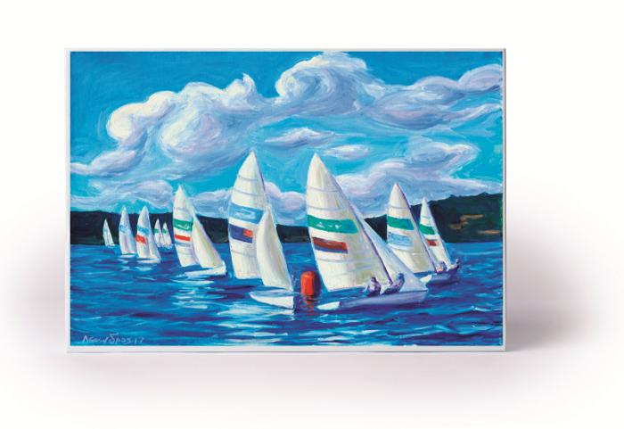 Puslespill med seilbåter på blått hav. Bilde.