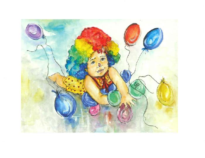 Liten pike med fargerikt hår på gulvet som forsøker å samle sine fargede ballonger.
