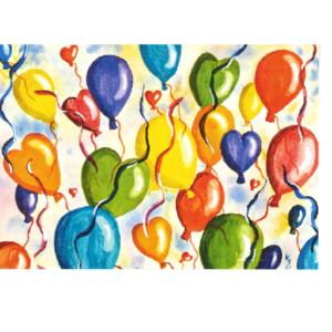 Bilde av ballonger som flyr til værs. Bilde.