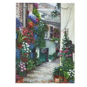 Bygninger med trange smug dekortert med blomster. Bilde.
