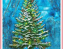 Pyntet juletre med frost rundt seg. Bilde.
