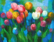 Dobbeltkort med miks av fargede tulipaner på blå bakgrunn.