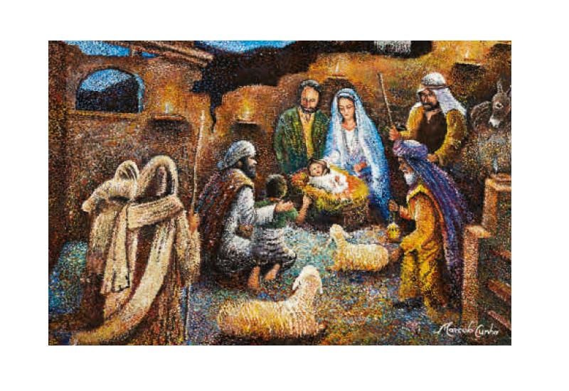Julekort med kristent motiv. Bilde.