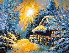 Nydelig dobbelt julekort med vintermotiv. Bilde.