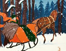 Julekort i gammeldags stil. Hest og slede. Bilde.