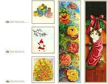 Til og fra lapper med koselig julemotiv, samt to bokmerker. Bilde.