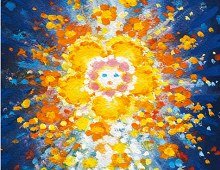 Dobbelt julekort med motiv av kunstnerisk engel. Bilde.