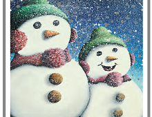 Julekort med bilde av to snømenn. Bilde.