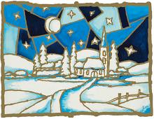Julekort med bilde av kirke. Bilde.