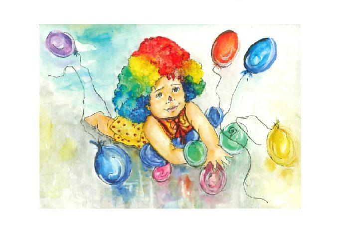 Dobbeltkort med motiv av et barn, utkledd som klovn. Bilde.