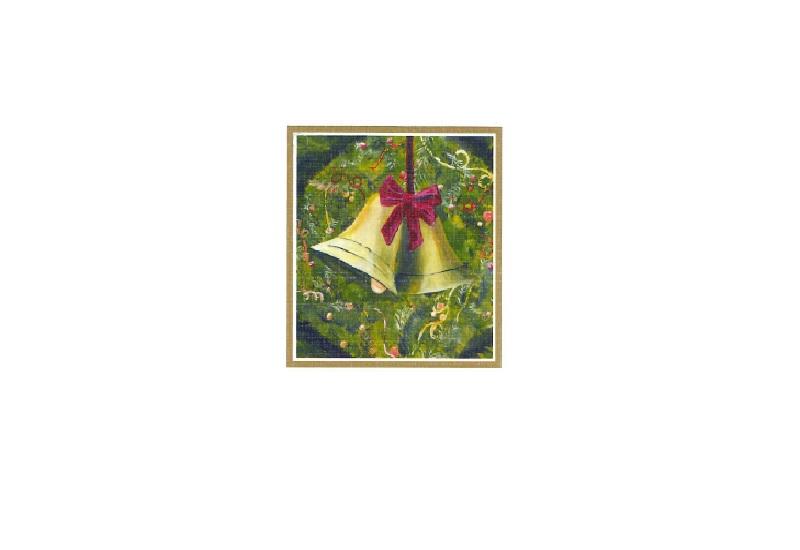 Til og fra lapp med motiv av julekrans og bjeller. Bilde.