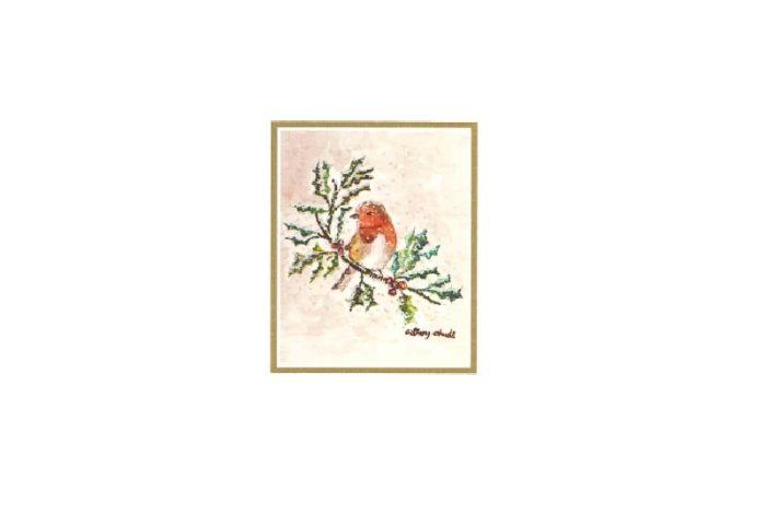 Til og fra lapp med motiv av fugl på kristtorn. Bilde.