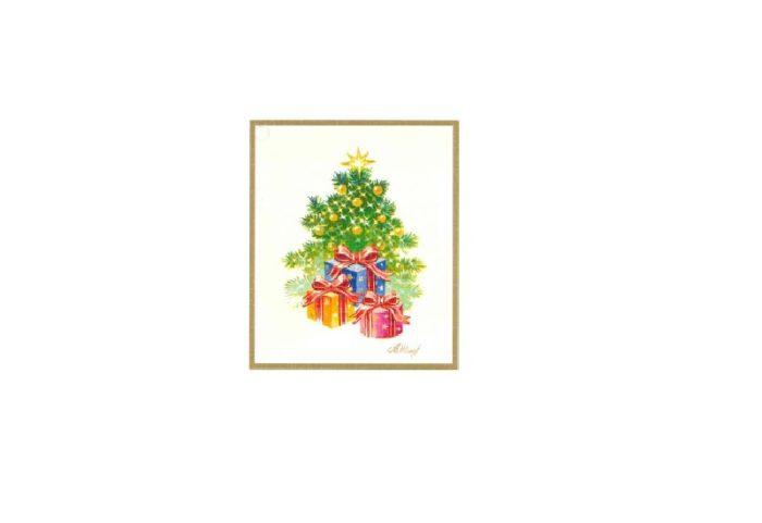 Til og fra lapp med motiv av juletre og julegaver. Bilde.
