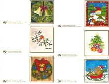 Til og fra lapper med diverse julemotiv. Bilde.