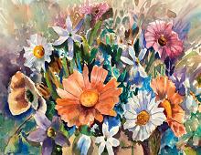 Dobbeltkort med forskjellige blomster i vase. Bilde.