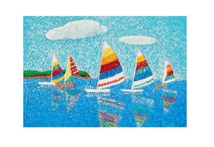 Dobbeltkort med bilde av små seilbåter. Bilde.