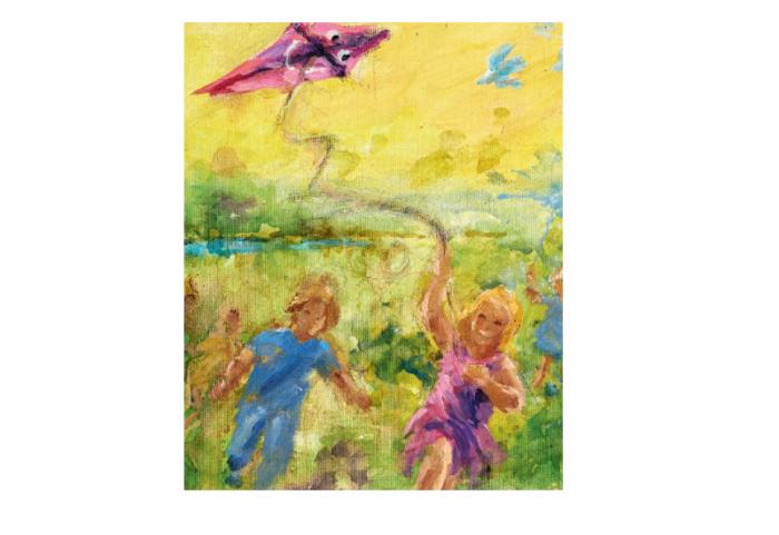 Postkort med barn som leker med drage. Bilde.