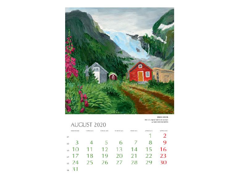 August-motiv i Kunstkalenderen. Bilde.