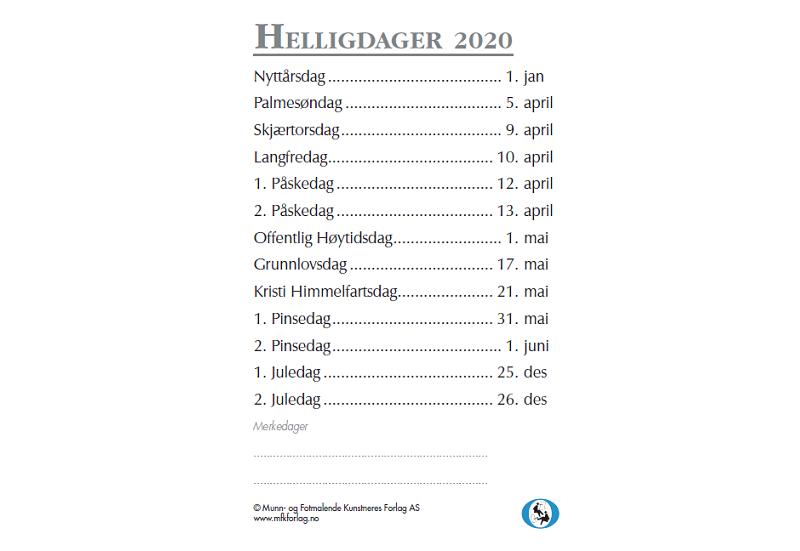 Bakside lommekalender 2020. Bilde.
