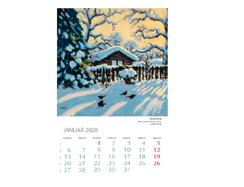 Januar-motiv i Kunstkalenderen. Bilde.